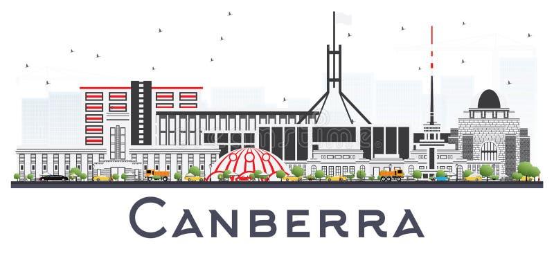 Orizzonte della città di Canberra Australia con Gray Buildings Isolated sopra royalty illustrazione gratis