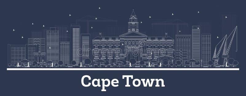 Orizzonte della città di Cape Town Sudafrica con le costruzioni bianche illustrazione vettoriale