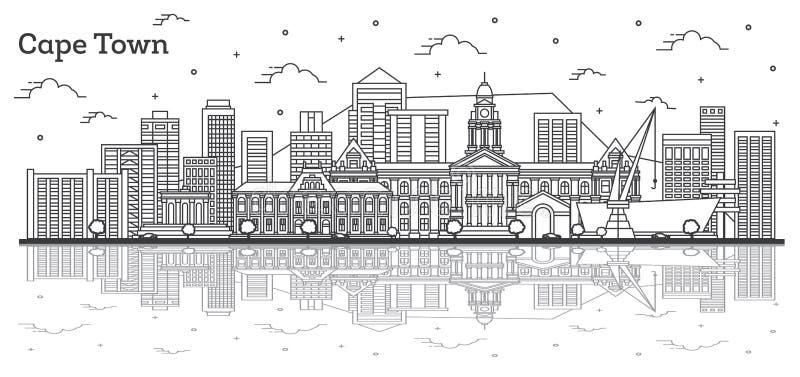 Orizzonte della città di Cape Town Sudafrica del profilo con le costruzioni moderne e riflessioni isolati su bianco illustrazione di stock