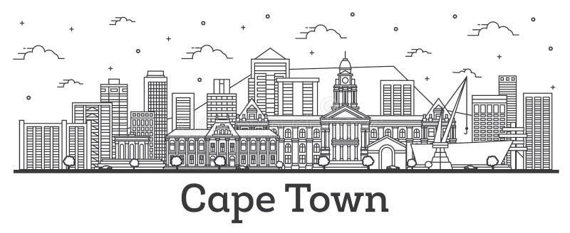 Orizzonte della città di Cape Town Sudafrica del profilo con le costruzioni moderne isolate su bianco illustrazione di stock