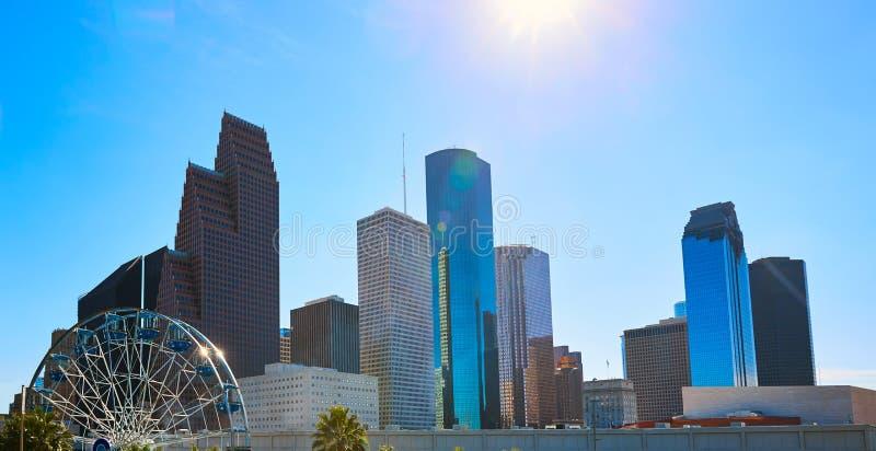 Orizzonte della città di Houston dal Texas ad ovest Stati Uniti fotografia stock libera da diritti