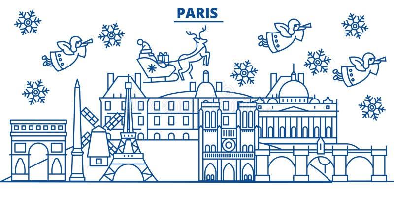 Orizzonte della città di inverno della Francia, Parigi Buon Natale, felice illustrazione di stock