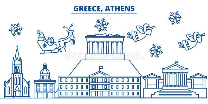 Orizzonte della città di inverno della Grecia, Atene Buon Natale, nuovo anno felice illustrazione di stock