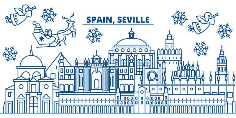 Orizzonte della città di inverno della Spagna, Siviglia Buon Natale, felice illustrazione di stock