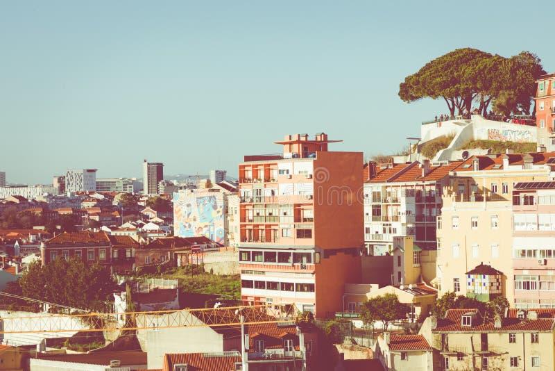 Orizzonte della città di Lisbona, Portogallo al Alfama fotografia stock