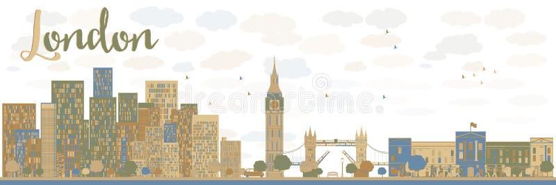 Orizzonte della città di Londra con le costruzioni blu e marroni royalty illustrazione gratis
