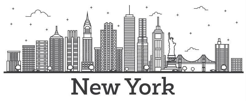 Orizzonte della città di New York U.S.A. del profilo con le costruzioni moderne isolate illustrazione di stock