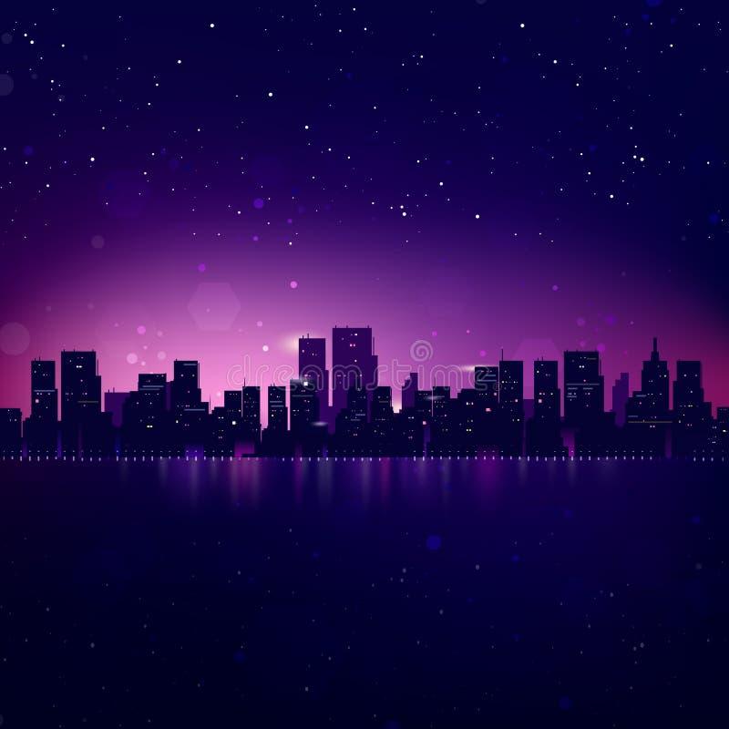Orizzonte della città di notte illustrazione vettoriale