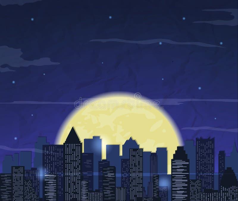 Orizzonte della città di notte sottragga la priorità bassa Paesaggio moderno della città di notte Vettore royalty illustrazione gratis