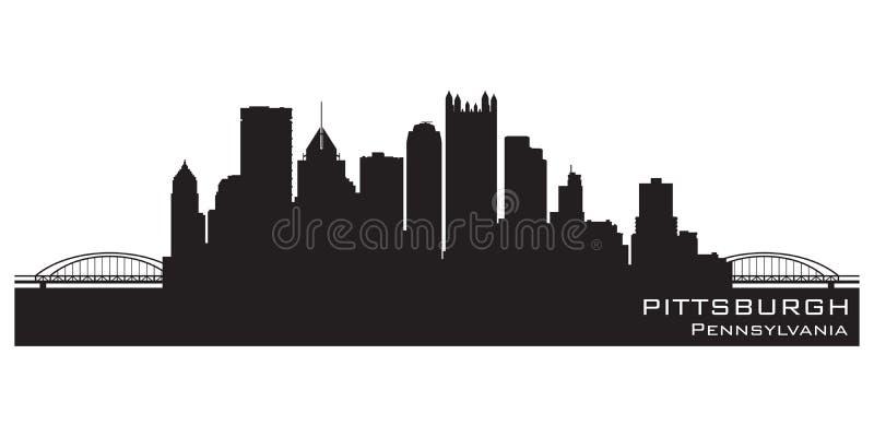 Orizzonte della città di Pittsburgh, Pensilvania Siluetta dettagliata di vettore royalty illustrazione gratis