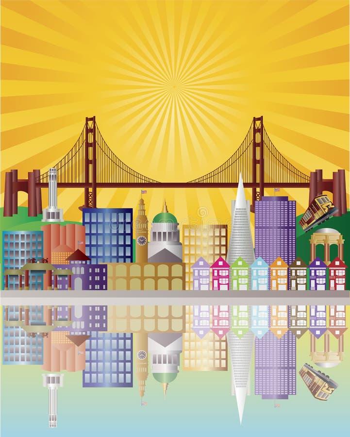 Orizzonte della città di San Francisco all'illustrazione di alba royalty illustrazione gratis
