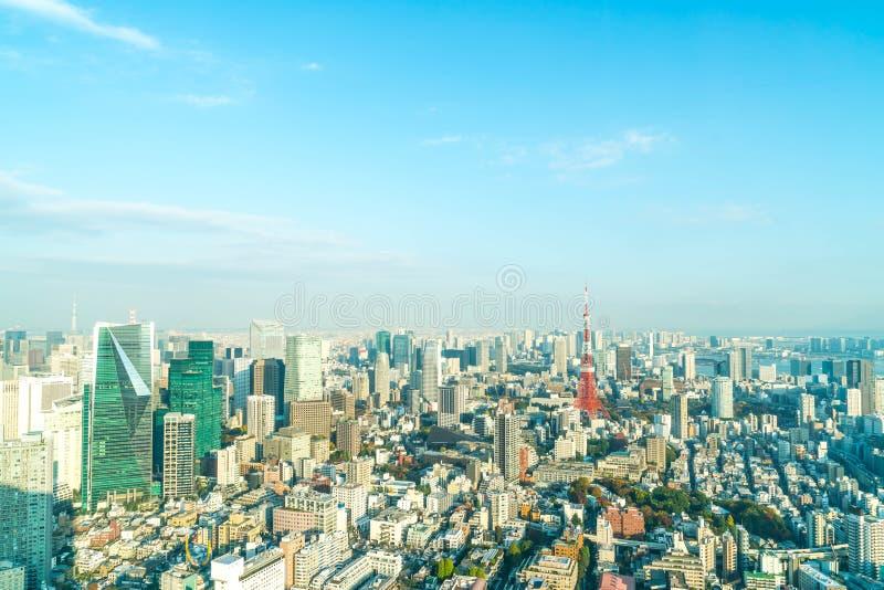 Orizzonte della città di Tokyo con la torre di Tokyo immagine stock libera da diritti