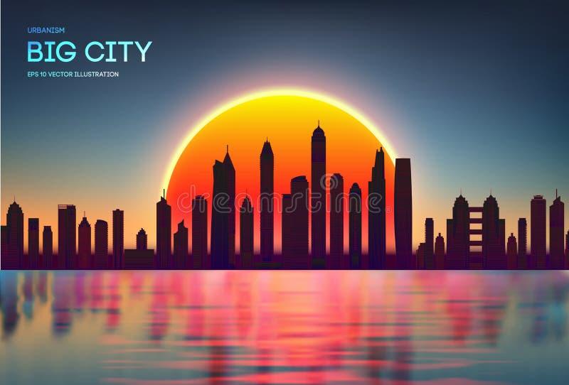 Orizzonte della città di tramonto di vettore con la siluetta moderna delle costruzioni Rosso della città di notte con la riflessi illustrazione di stock