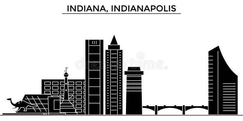Orizzonte della città di vettore di architettura degli S.U.A., Indiana, Indianapolis, paesaggio urbano di viaggio con i punti di  illustrazione di stock