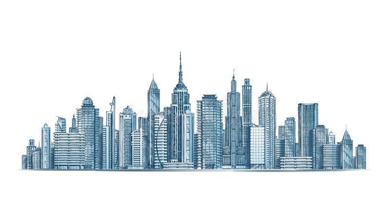 Orizzonte della città Illustrazione di vettore su priorità bassa bianca illustrazione di stock