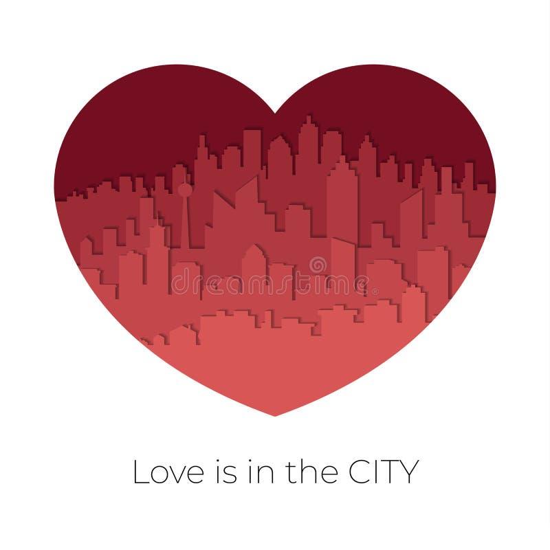 Orizzonte della città nel rosso-tono nel concetto del biglietto di S. Valentino nel cuore a forma di stile di carta di arte illustrazione vettoriale