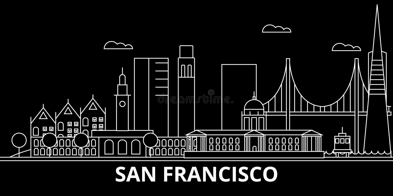 Orizzonte della siluetta della città di San Francisco U.S.A. - Vettore di San Francisco, architettura lineare americana San Franc illustrazione di stock