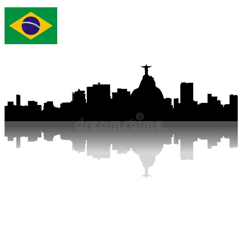 Orizzonte della siluetta del Rio de Janeiro di vettore
