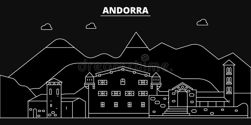 Orizzonte della siluetta dell'Andorra Città di vettore dell'Andorra, architettura lineare andorrana, illustrazione di viaggio di  illustrazione di stock