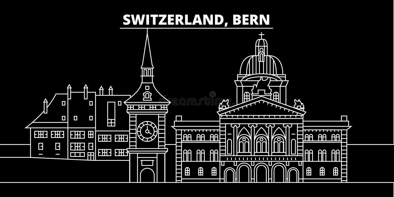 Orizzonte della siluetta di Berna Città di vettore di Berna - della Svizzera, architettura lineare svizzera, costruzioni Illustra illustrazione di stock