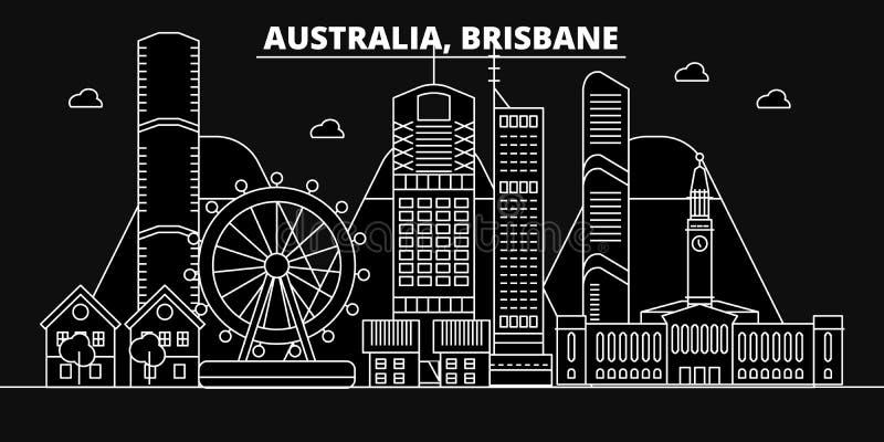 Orizzonte della siluetta di Brisbane Città di vettore di Brisbane - dell'Australia, architettura lineare australiana, costruzioni illustrazione di stock