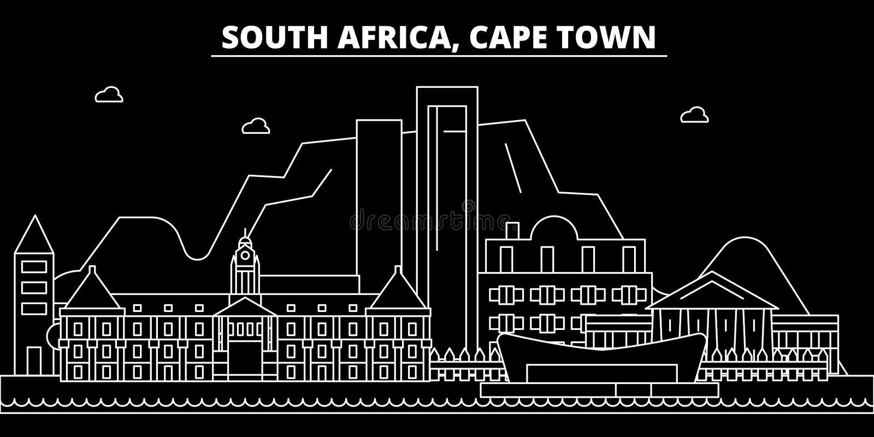 Orizzonte della siluetta di Cape Town Città di vettore di Cape Town - del Sudafrica, architettura lineare sudafricana Viaggio di  illustrazione di stock