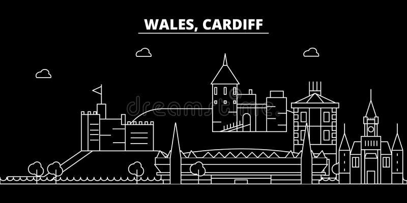 Orizzonte della siluetta di Cardiff Città di vettore di Cardiff - di Galles, architettura lineare di lingua gallese, costruzioni  illustrazione vettoriale