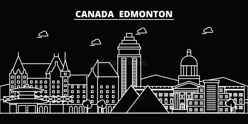 Orizzonte della siluetta di Edmonton Città di vettore di Edmonton - del Canada, architettura lineare canadese, costruzioni Viaggi illustrazione di stock