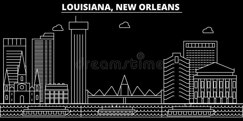 Orizzonte della siluetta di New Orleans U.S.A. - Città di vettore di New Orleans, architettura lineare americana, costruzioni New royalty illustrazione gratis