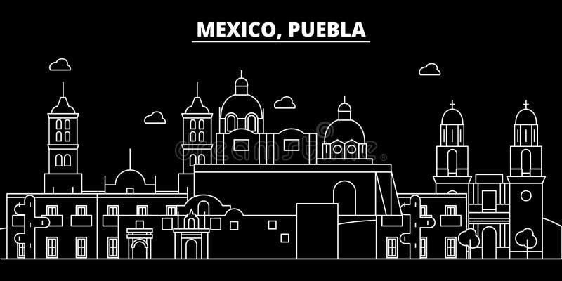 Orizzonte della siluetta di Puebla Città di vettore di Puebla - del Messico, architettura lineare messicana, costruzioni Viaggio  illustrazione vettoriale