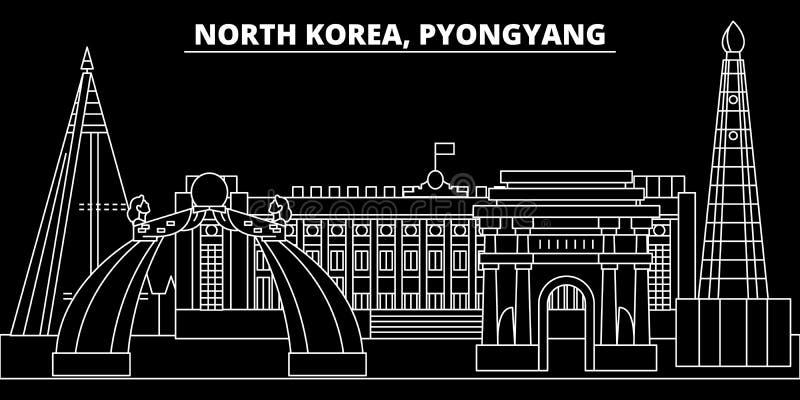 Orizzonte della siluetta di Pyongyang Città di vettore di Pyongyang - della Corea del Nord, architettura lineare coreana, costruz illustrazione di stock