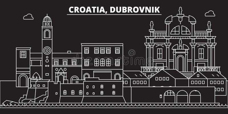 Orizzonte della siluetta di Ragusa Città di vettore di Ragusa - della Croazia, architettura lineare croata, costruzioni Viaggio d illustrazione vettoriale