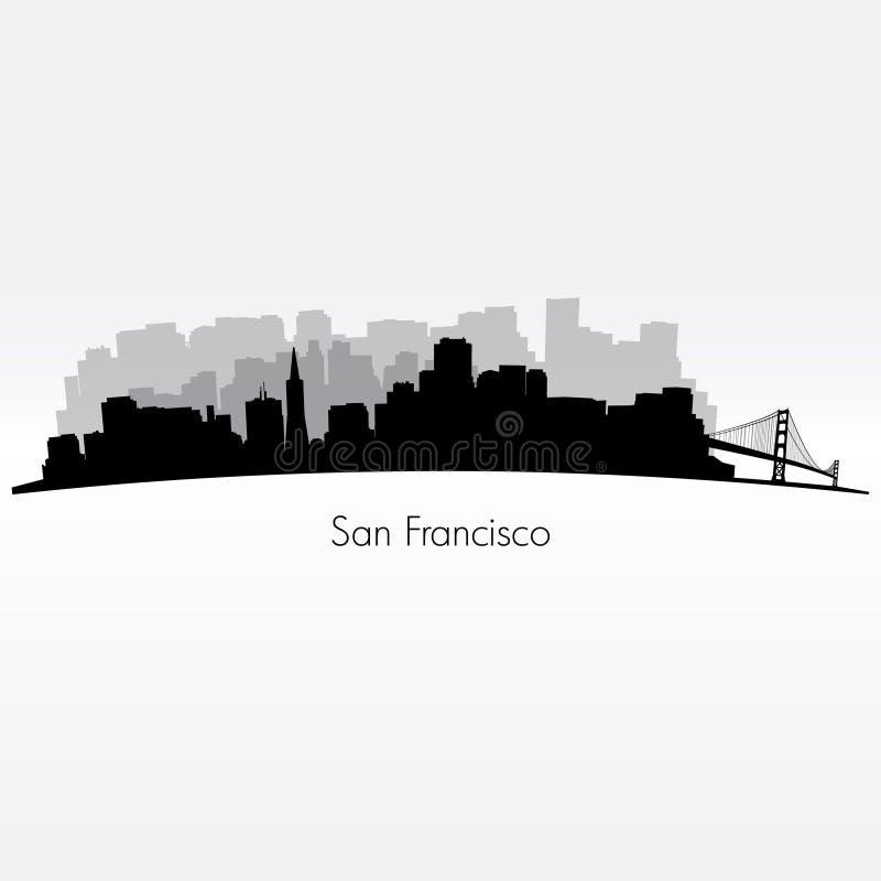 Orizzonte della siluetta di San Francisco illustrazione vettoriale