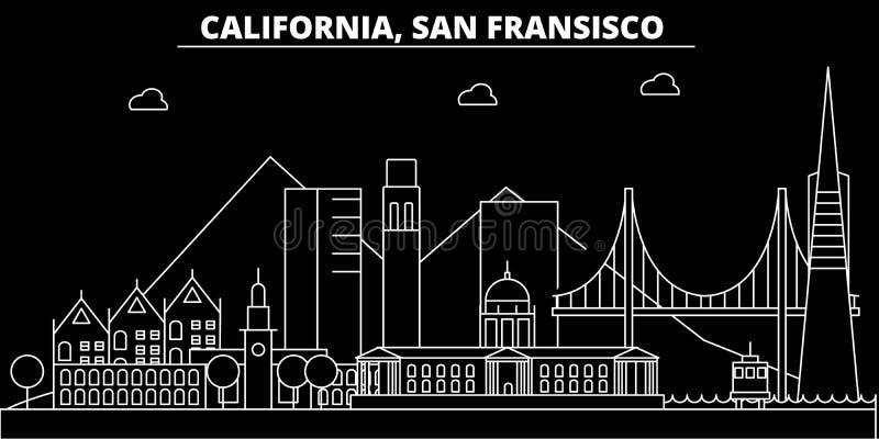 Orizzonte della siluetta di San Francisco U.S.A. - Città di vettore di San Francisco, architettura lineare americana, costruzioni illustrazione vettoriale