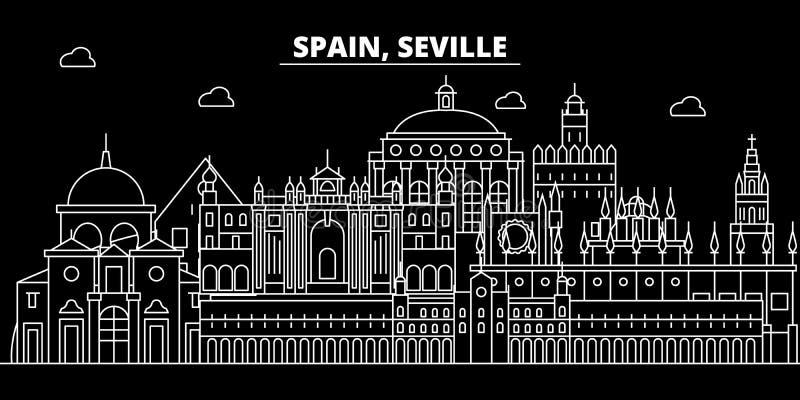 Orizzonte della siluetta di Siviglia Città di vettore di Siviglia - della Spagna, architettura lineare spagnola, costruzioni Viag illustrazione vettoriale