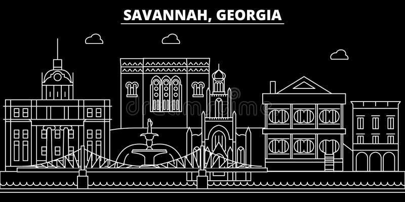 Orizzonte della siluetta della savana U.S.A. - Città di vettore della savana, architettura lineare americana, costruzioni Viaggio illustrazione di stock