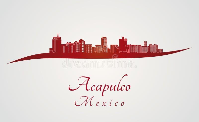 Orizzonte di Acapulco nel rosso illustrazione vettoriale