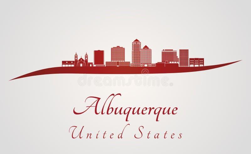 Orizzonte di Albuquerque V2 nel rosso royalty illustrazione gratis