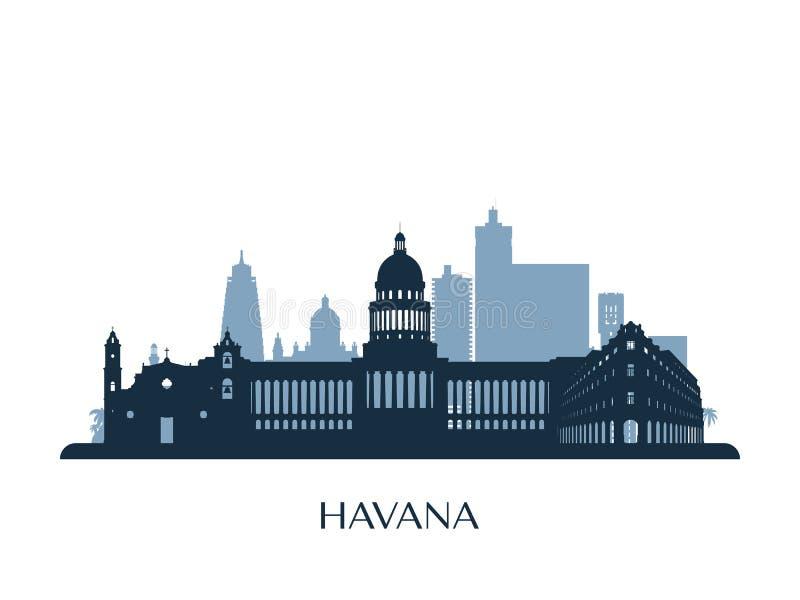 Orizzonte di Avana, siluetta monocromatica illustrazione di stock