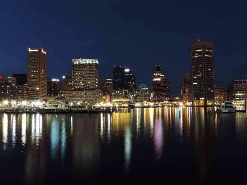 Orizzonte di Baltimora al crepuscolo fotografia stock libera da diritti