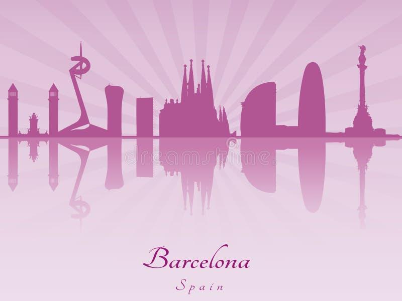 Orizzonte di Barcellona in orchidea radiante porpora illustrazione vettoriale
