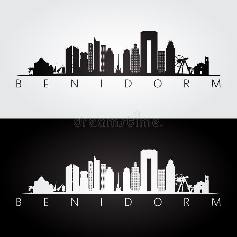 Orizzonte di Benidorm e siluetta dei punti di riferimento illustrazione vettoriale