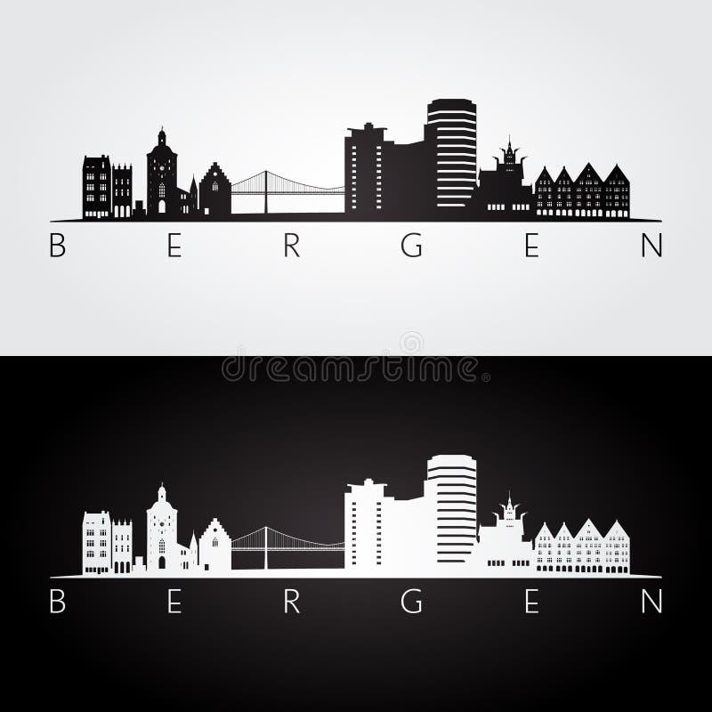 Orizzonte di Bergen e siluetta dei punti di riferimento, progettazione in bianco e nero illustrazione vettoriale
