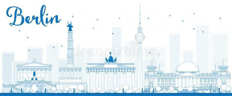 Orizzonte di Berlino del profilo con costruzione blu illustrazione vettoriale