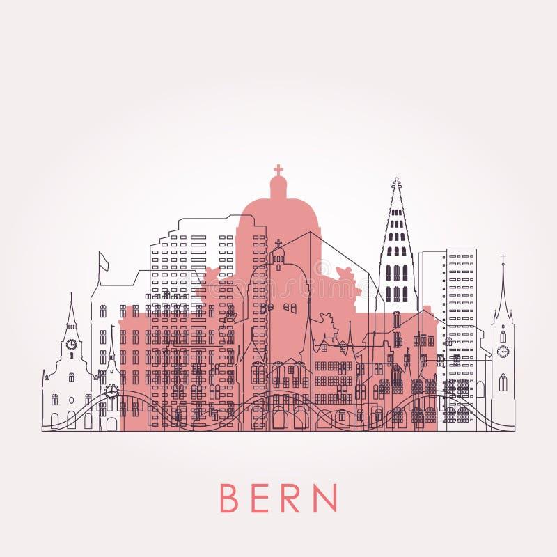 Orizzonte di Berna del profilo con i punti di riferimento illustrazione vettoriale