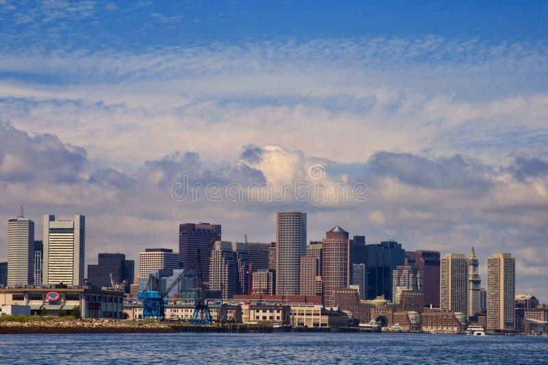 Orizzonte di Boston con il centro di commercio di parola immagine stock libera da diritti
