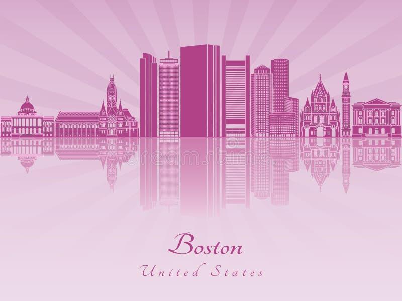 Orizzonte di Boston in orchidea radiante porpora royalty illustrazione gratis