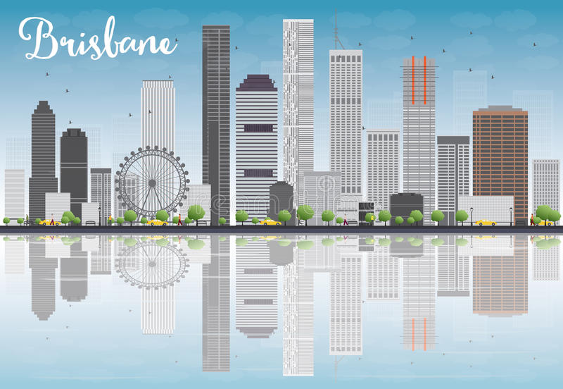 Orizzonte di Brisbane con costruzione e cielo blu grigi illustrazione di stock