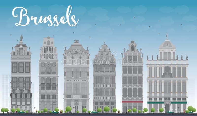 Orizzonte di Bruxelles con le costruzioni decorate di Grand Place illustrazione di stock