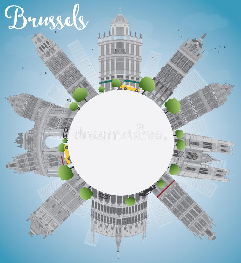 Orizzonte di Bruxelles con lo spazio grigio della costruzione, del cielo blu e della copia illustrazione vettoriale